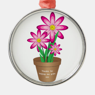 Thanks For Helping Me Grow - Happy Flower Metal Ornament