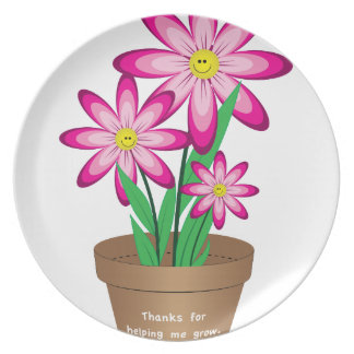 Thanks For Helping Me Grow - Happy Flower Plate