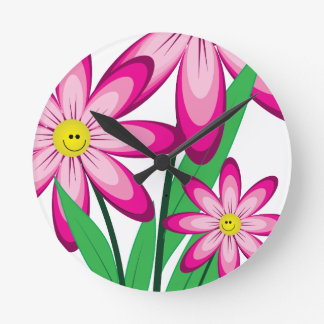Thanks For Helping Me Grow - Happy Flower Round Clock
