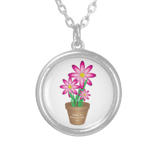 Thanks For Helping Me Grow - Happy Flower Silver Plated Necklace