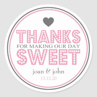 Thanks For Making Our Day Sweet (Pink / Gray) Round Sticker