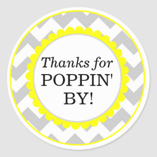 Thanks For Poppin By, Chevron Print Baby Shower Classic Round Sticker