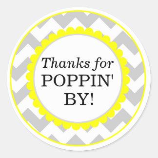 Thanks For Poppin By, Chevron Print Baby Shower Round Sticker