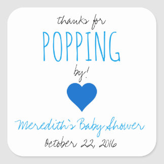 Thanks for Popping By!  Baby Shower Favour Square Sticker