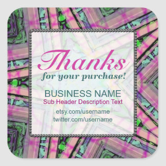 Thanks for Purchase Pastel Star Business square St Square Sticker