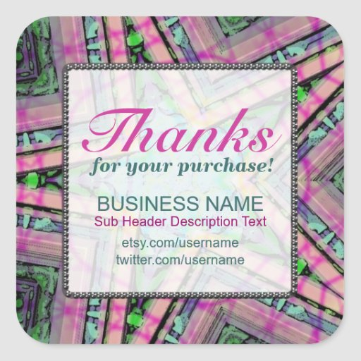 Thanks for Purchase Pastel Star Business square St Sticker