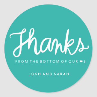 Thanks from the bottom of our hearts sticker