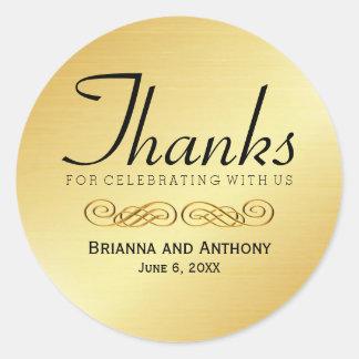 Thanks Gold Wedding Thank You Sticker Seal