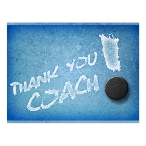 Thanks Hockey Coach PostCard Icy Blue Style