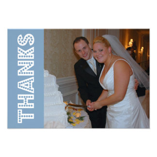 Thanks In Lights Thank You Notecard (Blue Gray) Custom Invite