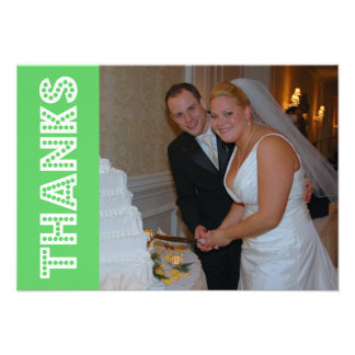 Thanks In Lights Thank You Notecard (Lime Green) Custom Announcements