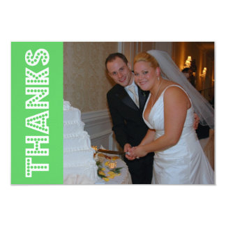 Thanks In Lights Thank You Notecard (Lime Green) 3.5x5 Paper Invitation Card