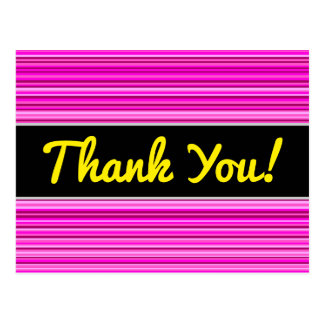 Thanks + Magenta and Pink Stripes/Lines Pattern Postcard