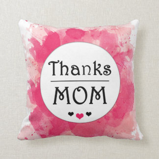 Thanks MOM Watercolor Pink Heart Cushion
