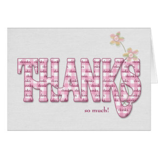 Thanks-pink gingham with flowers card