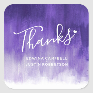 Thanks purple watercolor wash wedding stickers
