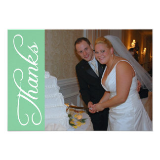Thanks Script Thank You Notecard (Mint Green) Personalized Invite