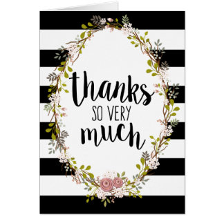 Thanks So Very Much Floral Wreath Thank You Card