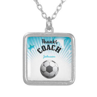 Thanks Soccer Coach Aqua Blue Stars Ball Silver Plated Necklace