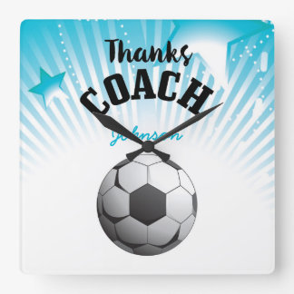 Thanks Soccer Coach Aqua Blue Stars Ball Square Wall Clock