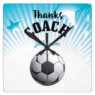 Thanks Soccer Coach Aqua Blue Stars Ball Square Wall Clock