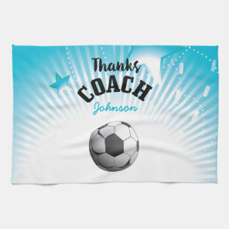 Thanks Soccer Coach Aqua Blue Stars Ball Tea Towel