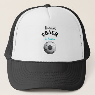 Thanks Soccer Coach Aqua Blue Stars Ball Trucker Hat