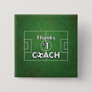Thanks Soccer Coach Grass Field 15 Cm Square Badge