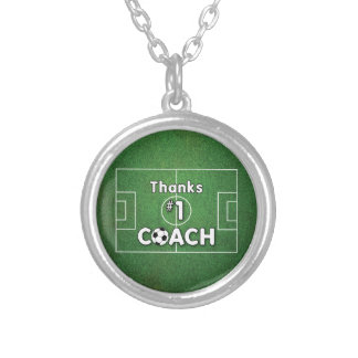 Thanks Soccer Coach Grass Field Silver Plated Necklace