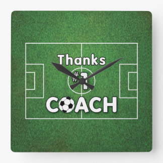 Thanks Soccer Coach Grass Field Square Wall Clock