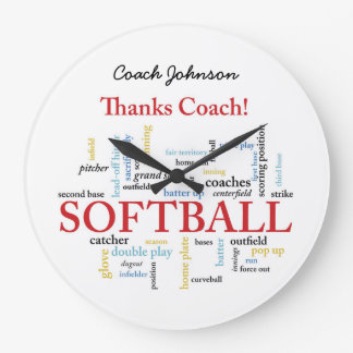Thanks Softball Coach Words From Group, Team, Red Large Clock
