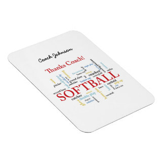 Thanks Softball Coach Words From Group, Team, Red Magnet