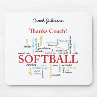Thanks Softball Coach Words From Group, Team, Red Mouse Pad