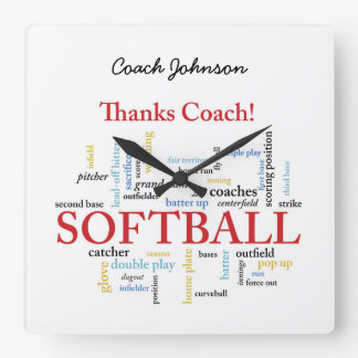 Thanks Softball Coach Words From Group, Team, Red Square Wall Clock