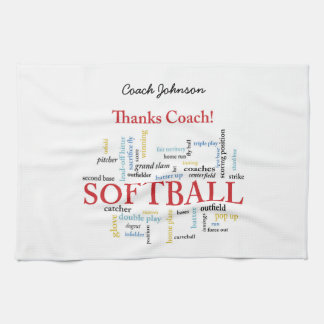 Thanks Softball Coach Words From Group, Team, Red Tea Towel