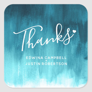 Thanks teal aqua watercolor wash wedding stickers