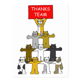 Thanks team, cats in pyramid shape. post card