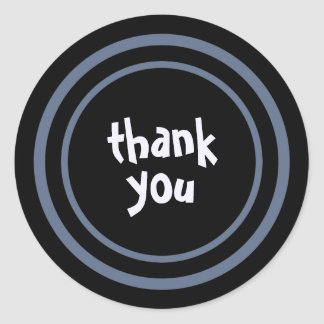 Thanks / Thank You (Purple and Black) Labels Round Sticker
