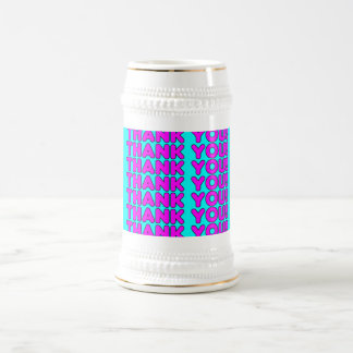Thanks to Her : Cute Girly Pink Cyan Thank You Beer Stein