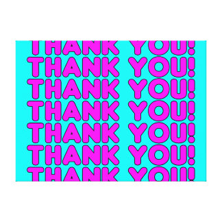 Thanks to Her : Cute Girly Pink Cyan Thank You Canvas Prints