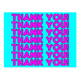 Thanks to Her : Cute Girly Pink Cyan Thank You Postcard