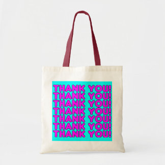 Thanks to Her : Cute Girly Pink Cyan Thank You Tote Bag