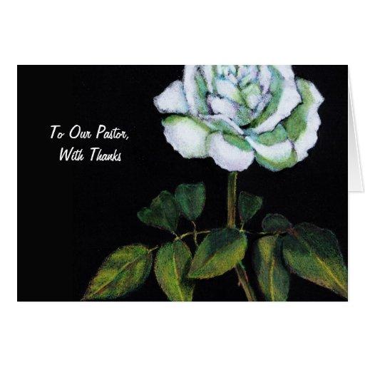 Thanks To Pastor: Single White Rose on Black Card
