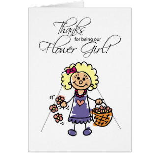 Thanks Wedding Flower Girl, Blonde Stick Figures Card