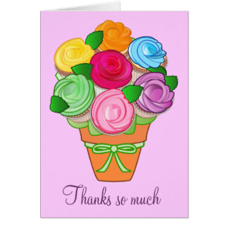Thanks You Gift Cupcake Bouquet Note Card