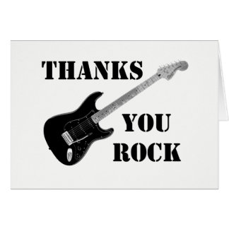 Thanks You Rock Black&whiteThank You Note card