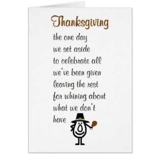 Thanksgiving - a funny Happy Thanksgiving poem Card