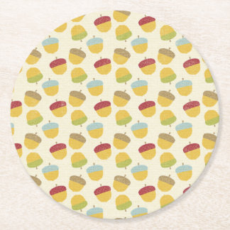 Thanksgiving Acorn Pattern Round Paper Coaster