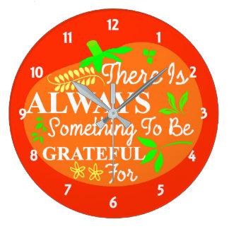 Thanksgiving Always Grateful Pumpkin Typography Large Clock
