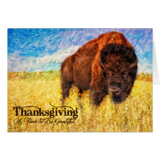 Thanksgiving - American Bison Buffalo Painting Card